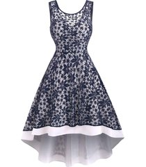 lace flower high low tank party dress