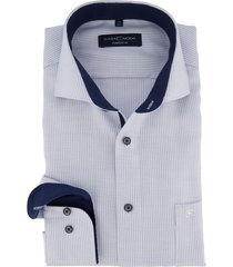overhemd casa moda blauw wit printje