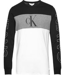 blocking statement ls slim tee t-shirts long-sleeved grå calvin klein jeans