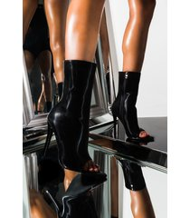 akira azalea wang crush the game liquid velvet stiletto heel open toe bootie