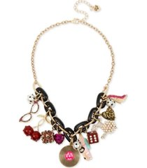 "betsey johnson gold-tone crystal & imitation pearl retro charm statement necklace, 17"" + 3"" extender"