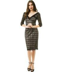 vestido izad midi em renda geométrica