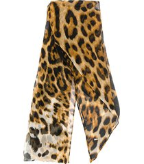 saint laurent leopard print neck scarf - brown