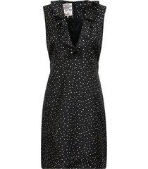 abee dress in black straw flying dots