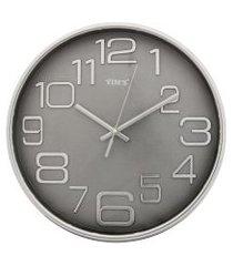 relógio de parede redondo sortido - 27cm - números grandes cinza
