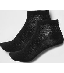 river island womens black textured trainer socks multipack