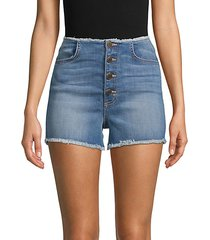 abella skinny button jean shorts