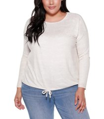 belle by belldini plus size women's long sleeve crew neck drawstring hem top