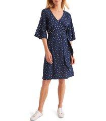 women's boden dominique polka dot belted dress, size 4 - blue