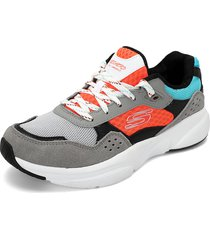 tenis lifestyle gris-negro-naranja-azul-blanco skechers meridian charted