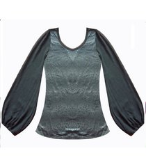 blusa manga con transparencia sarab- negro