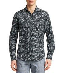 saks fifth avenue men's collection mini floral-print cotton sport shirt - navy - size m