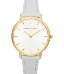 rebecca minkoff women's major gray leather strap watch 35mm