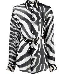 dsquared2 zebra-print belted shirt - black