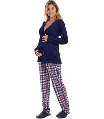 pijama de inverno gestante e amamentação marinho xadrez luna cuore