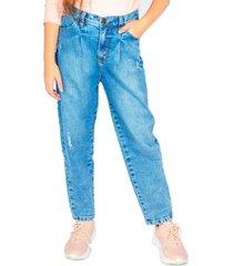 jeans slouchy pretina elasticada azul cacao