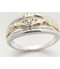 10k gold & silver diamond claddagh engagement ring size 7