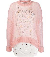 nº21 conjunto de tricô com contas - rosa