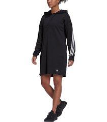 women's adidas long sleeve hooded dress, size medium - black