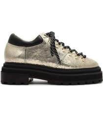 lucille metallic leather & shearling bootie - 11 platina gold metallic leather