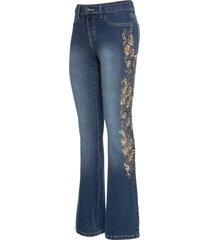 broderade jeans, bootcut