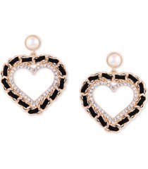 guess gold-tone imitation pearl, crystal & black woven heart drop earrings