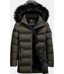 plus cappotto per uomo imbottito trapuntato con cappuccio
