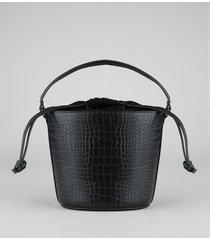 bolsa feminina balde média croco alça transversal removível preta