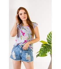 camisa feminina colibri regata com manga curta estampada c03 - azul/estampado/floral - feminino - viscose - dafiti