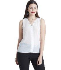 blusa sin mangas escote v blanco lorenzo di pontti