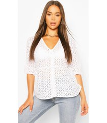broderie button detail peplum top, white