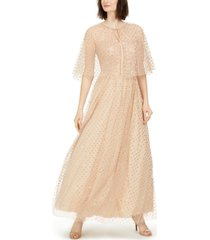 eliza j glitter-dot cape gown
