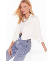 womens this means business cropped tailored blazer - cream