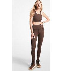 mk leggings reversibili in misto nylon con stampa leopardata e logo - cioccolato (marrone) - michael kors