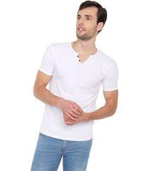 camiseta con botones de hombre licrada - blanco polovers