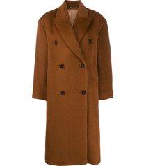 acne studios boxy oversized coat - brown