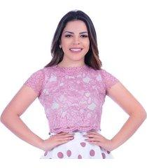 blusa croped miss lady renda rosé
