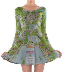 epcot map disney longsleeve skater dress