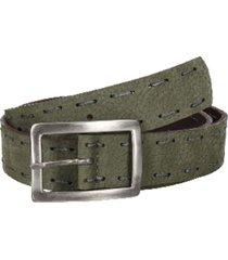 cinturón cuero con pespuntes verde panama jack