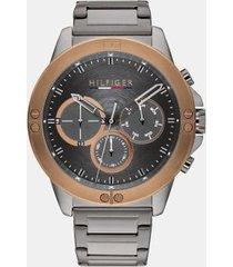 tommy hilfiger men's explorer ion-plated bracelet watch wi sub-dials brown/grey -