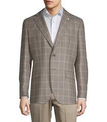 grid plaid wool & silk sport coat