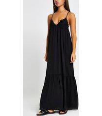 river island womens black applique cami maxi beach dress