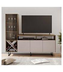 rack para tv até 56 pol jcm movelaria luz c/ cristaleira cacau e off white