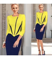 vestido de trabajo elegante para mujer ropa de trabajo de oficina ol vestido a media pierna con lápiz ol-amarillo
