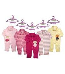 kit roupa e acessórios bebê 5 macacão longo plush e 5 cabides rosa