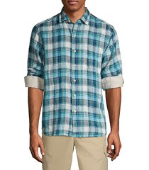 linen in luxury plaid shirt