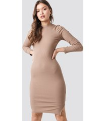 na-kd ribbed jersey long sleeve dress - beige