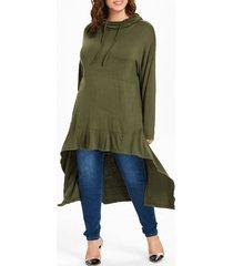 plus size drawstring high low long hoodie