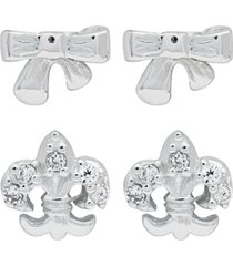 link up 2-piece set bow and fleur-de-lis sterling silver stud earrings