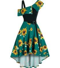 printed sunflower o ring belt a line dress